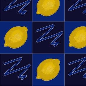 Lemons Checkerboard Blue Upholstery Fabric