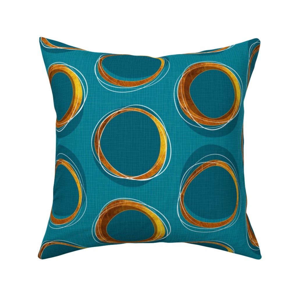 Catalan Throw Pillow featuring Solar Eclipse: MCModern_Gold and Blue by mia_valdez