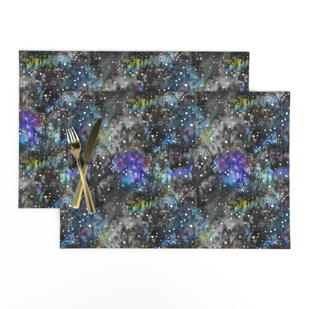 Lamona Cloth Placemats featuring Technicolor Watercolor Galaxy Backdrop by suzzincolour