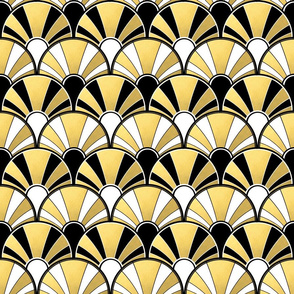 Art Deco Fan in Black, White and Gold Version 2