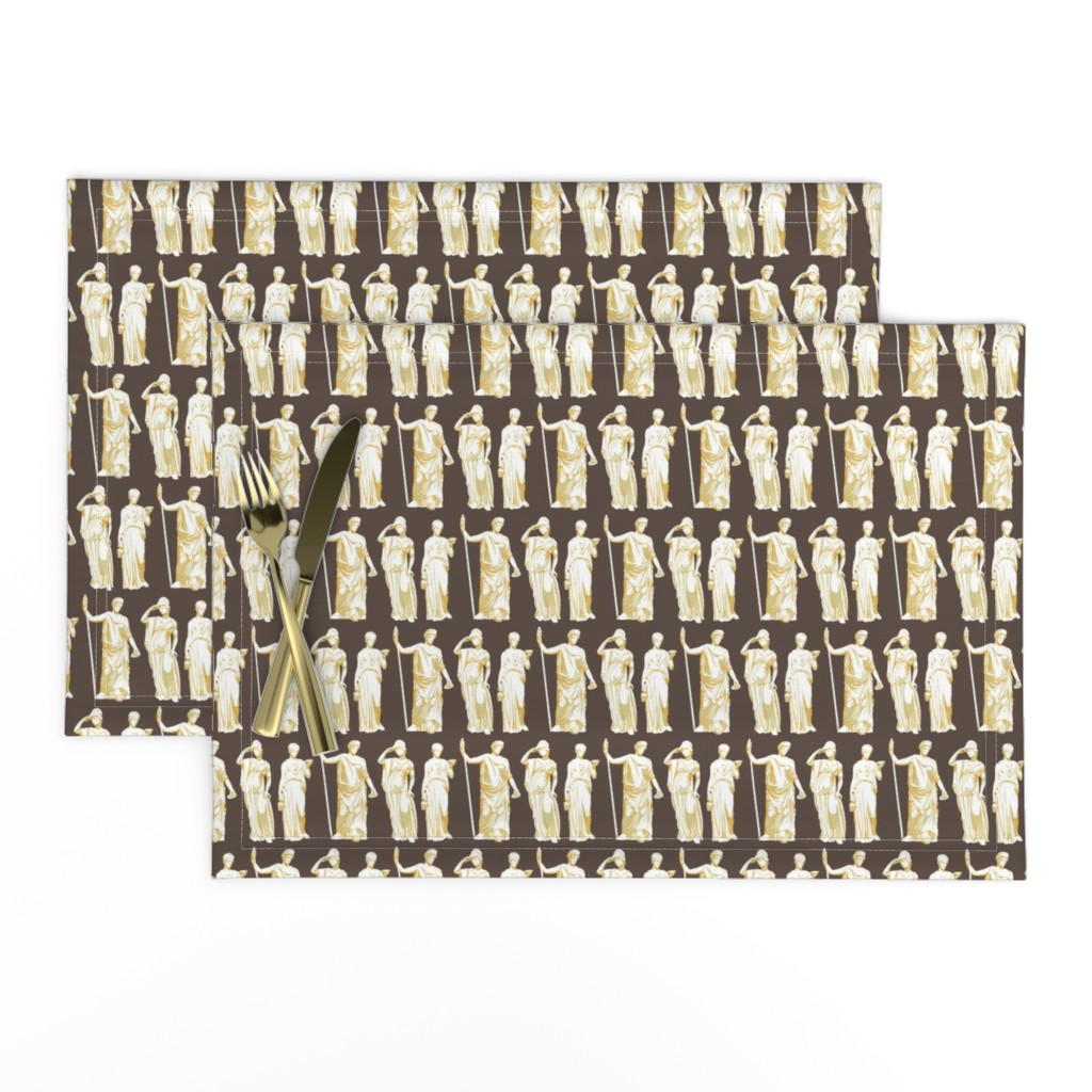 Lamona Cloth Placemats featuring Kolonaki Goddess - Brown by siya