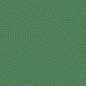 Fibonacci-flower polkadots - teal on olive