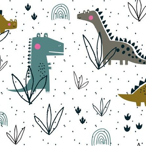 Dinosaur t-rex boys pattern on white background