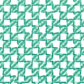 twisty checkerboard - teal/green on white