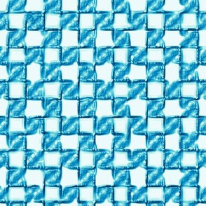 twisty checkerboard - bright blues on white
