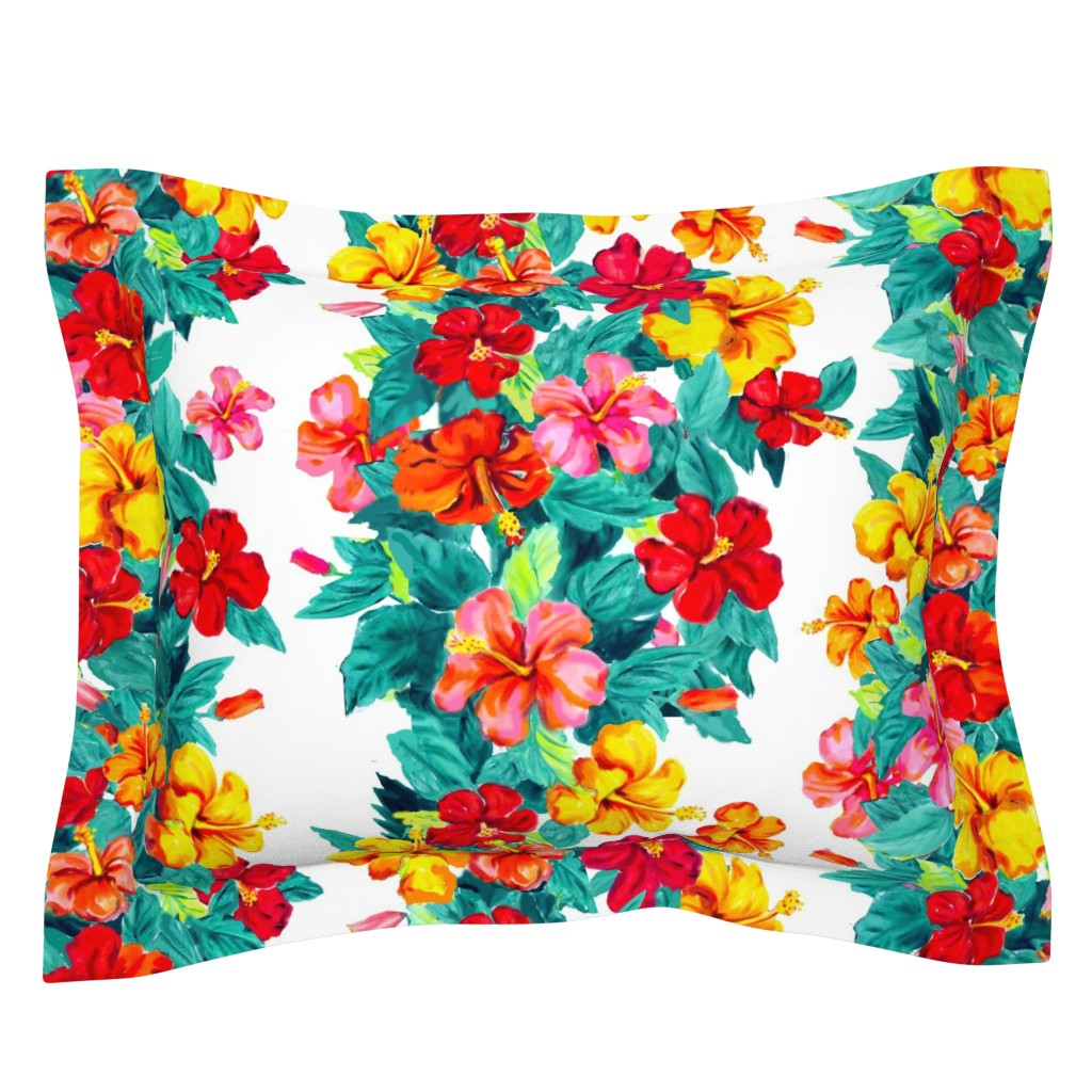 Sebright Pillow Sham featuring hibiscus towers by maliuana
