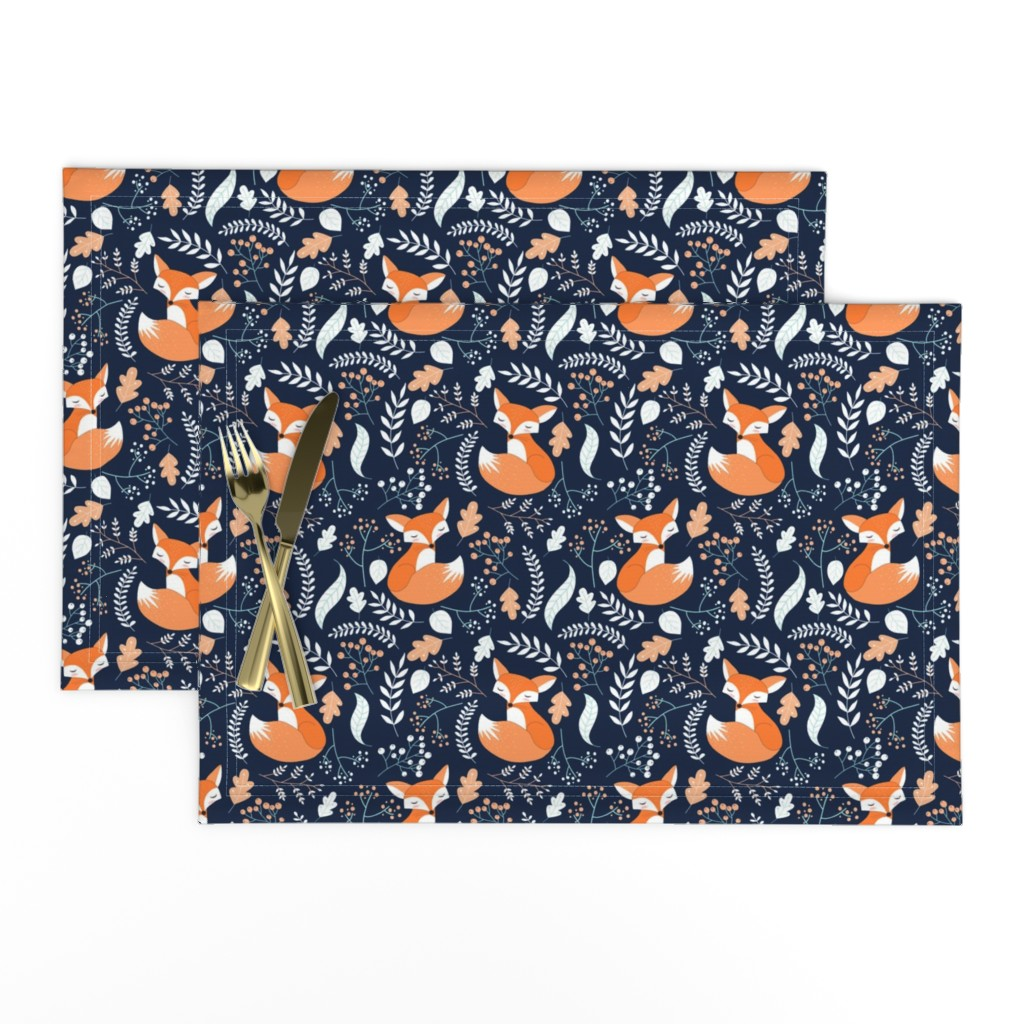 Lamona Cloth Placemats featuring Fox - Sleepy Foxes (navy) Baby Nursery Woodland Animals Kids Childrens Bedding N10 by gingerlous