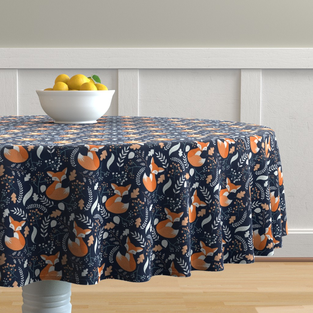 Malay Round Tablecloth featuring Fox - Sleepy Foxes (navy) Baby Nursery Woodland Animals Kids Childrens Bedding N10 by gingerlous