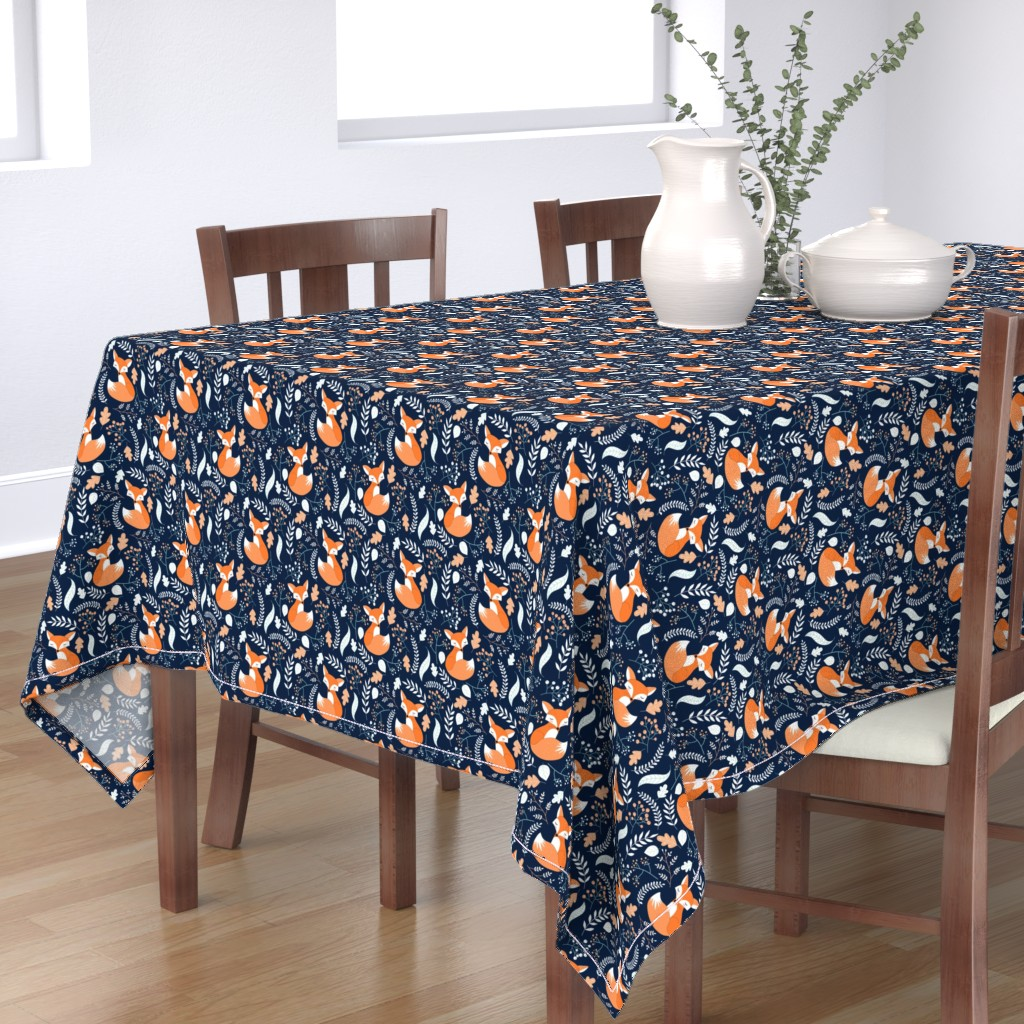 Bantam Rectangular Tablecloth featuring Fox - Sleepy Foxes (navy) Baby Nursery Woodland Animals Kids Childrens Bedding N10 by gingerlous