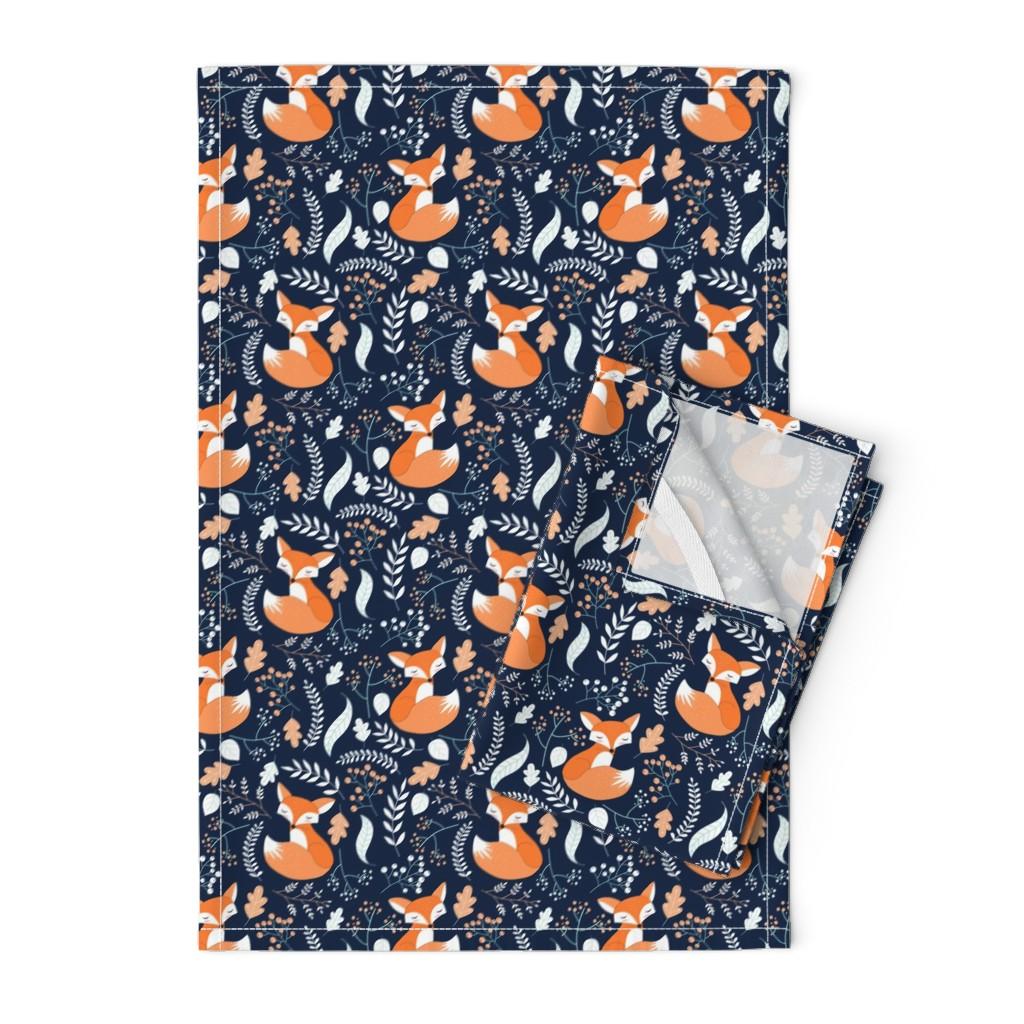 Orpington Tea Towels featuring Fox - Sleepy Foxes (navy) Baby Nursery Woodland Animals Kids Childrens Bedding N10 by gingerlous