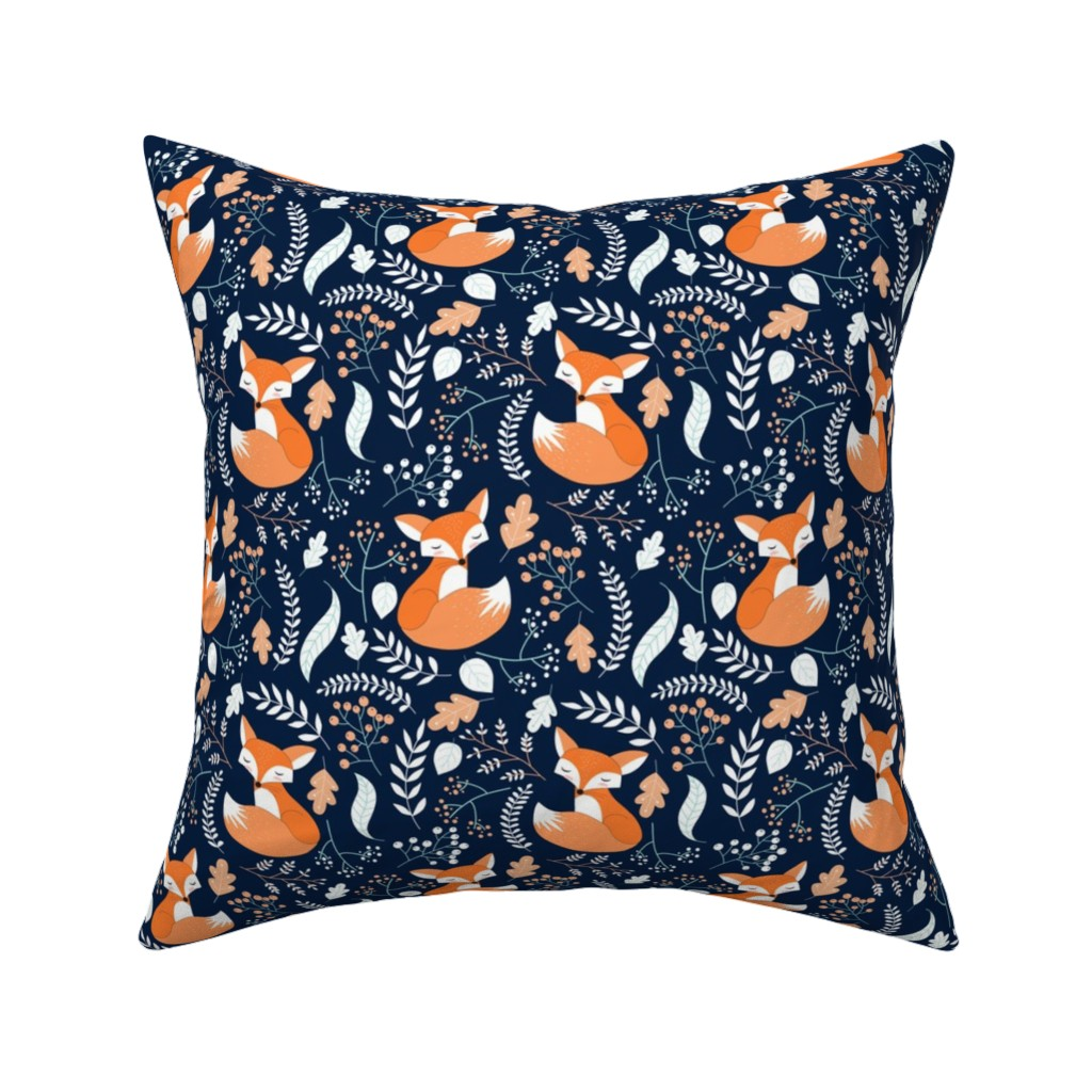 Catalan Throw Pillow featuring Fox - Sleepy Foxes (navy) Baby Nursery Woodland Animals Kids Childrens Bedding N10 by gingerlous