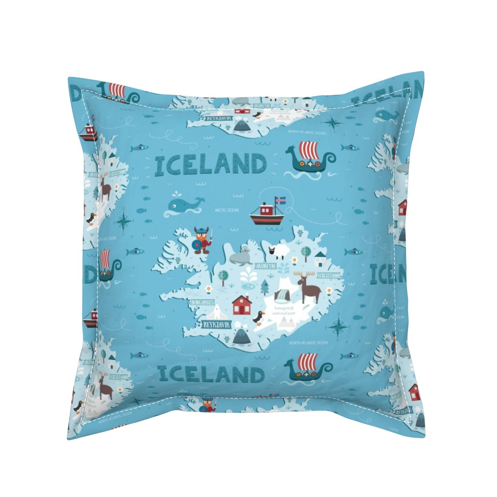 Serama Throw Pillow featuring iceland_map by la_fabriken