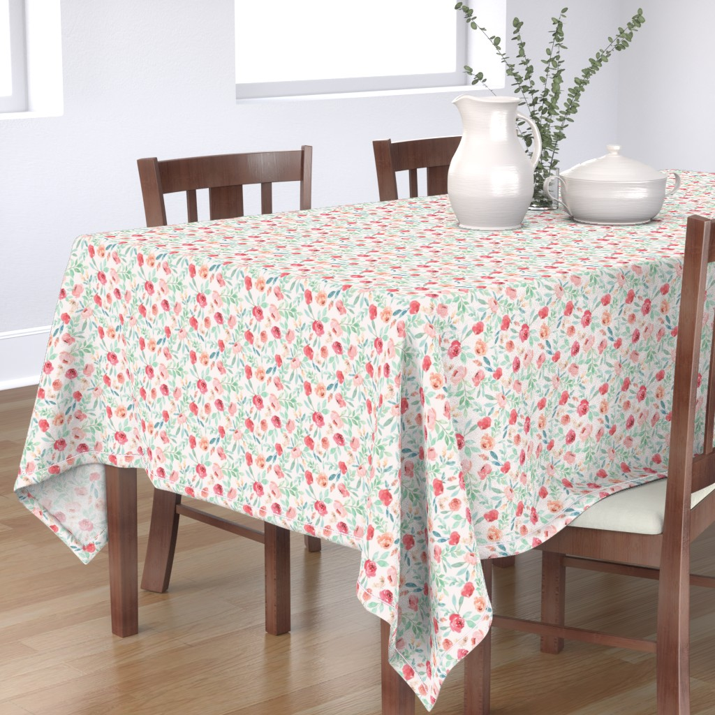 Bantam Rectangular Tablecloth featuring Mini Watercolor Floral on Pink by taylor_bates_creative