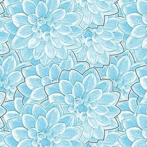 Dahlias Light Blue Upholstery Fabric