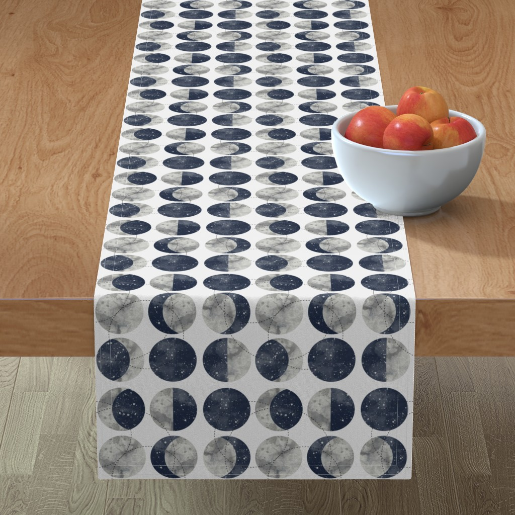 Minorca Table Runner featuring Moon Phase Spot by mottle&daub
