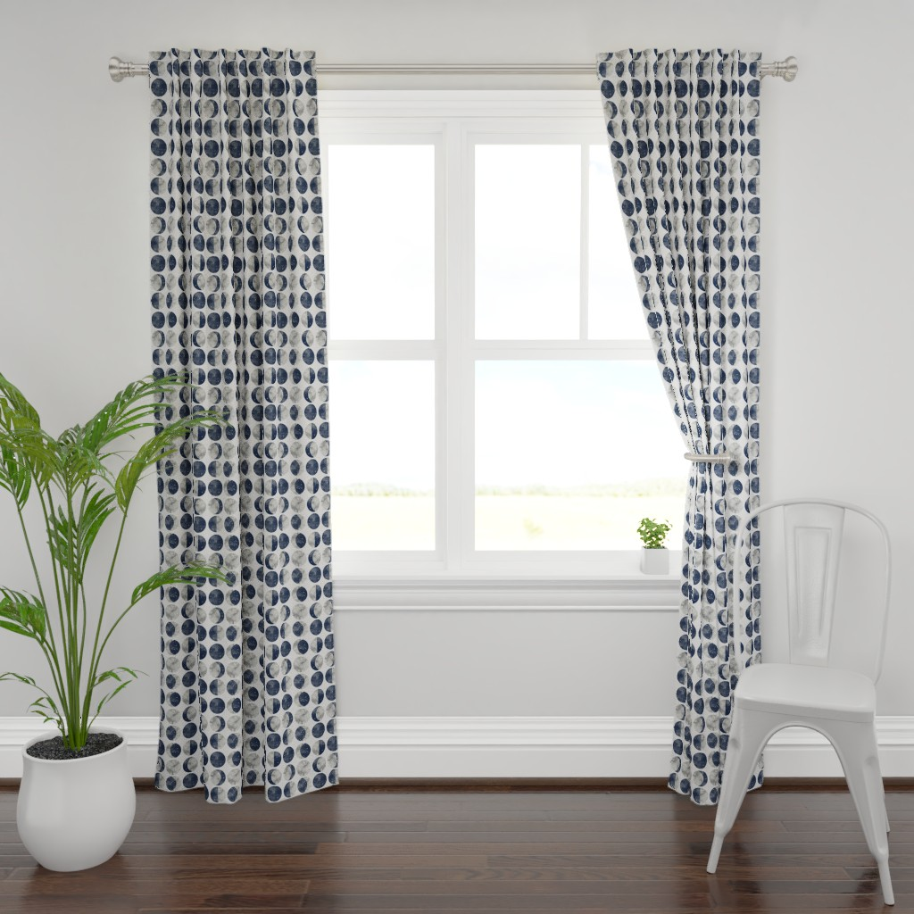 Plymouth Curtain Panel featuring Moon Phase Spot by mottle&daub