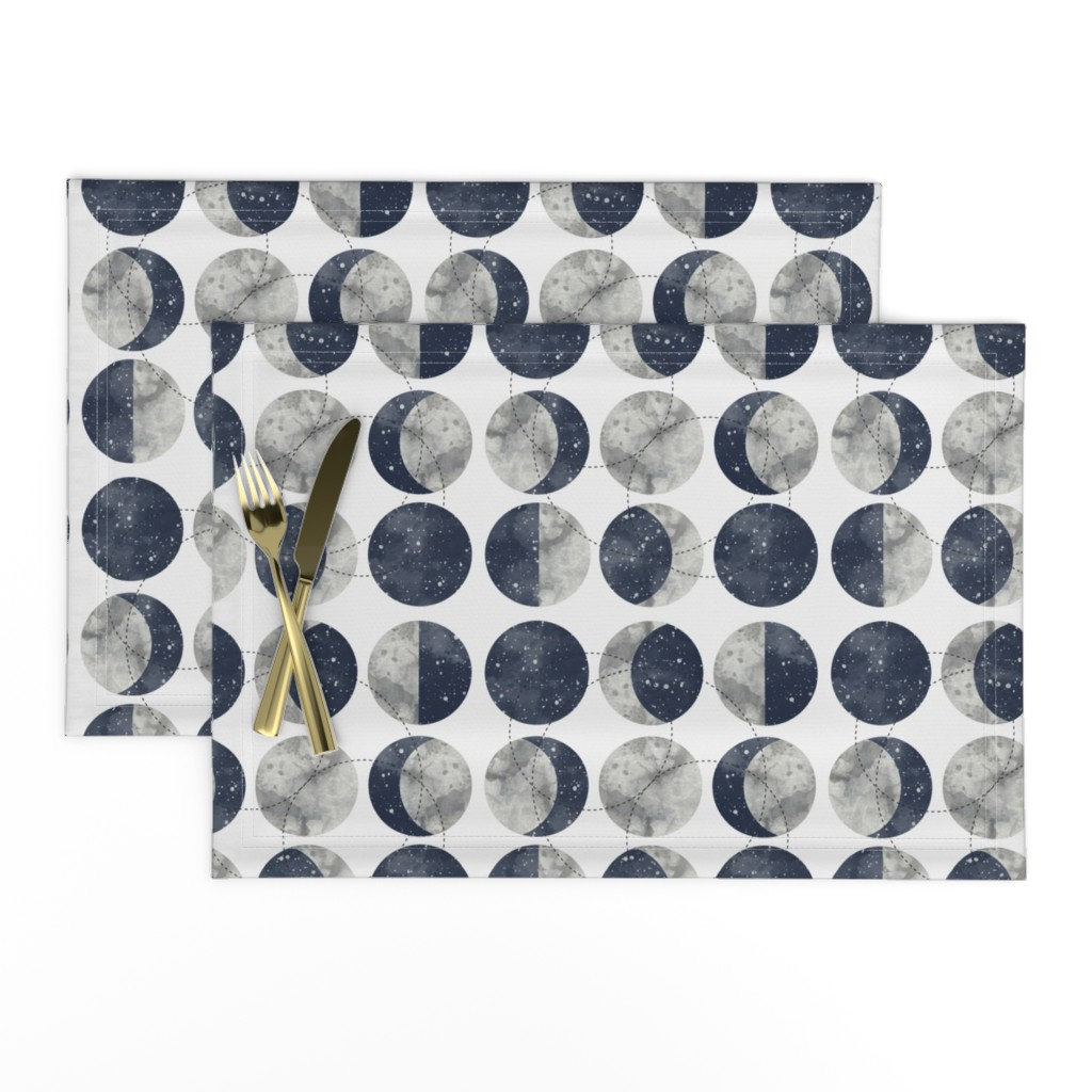 Lamona Cloth Placemats featuring Moon Phase Spot by mottle&daub