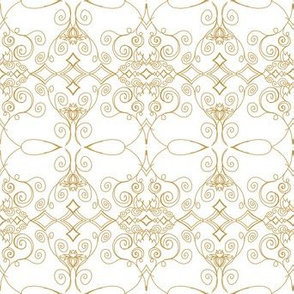 Simple Gold Filigree on White