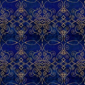 Project 370 | Gold Filigree on Dark Blue