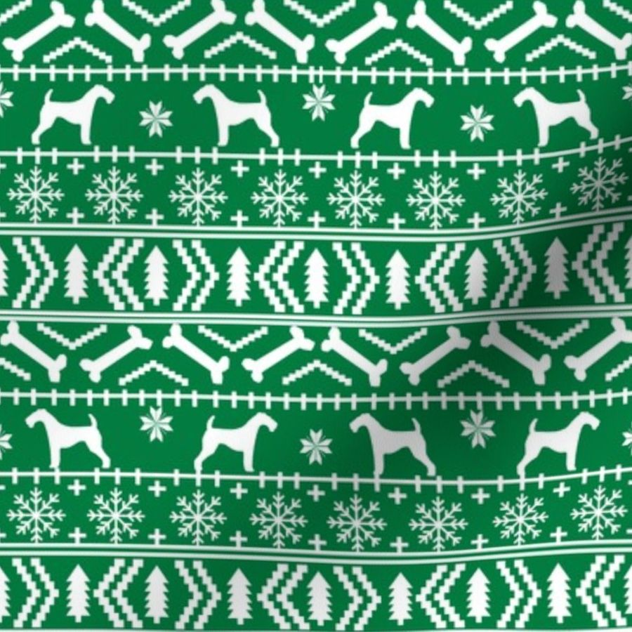 Christmas Sweater Pattern.Fabric By The Yard Airedale Terrier Dog Fair Isle Christmas Sweater Pattern Print Bright Green