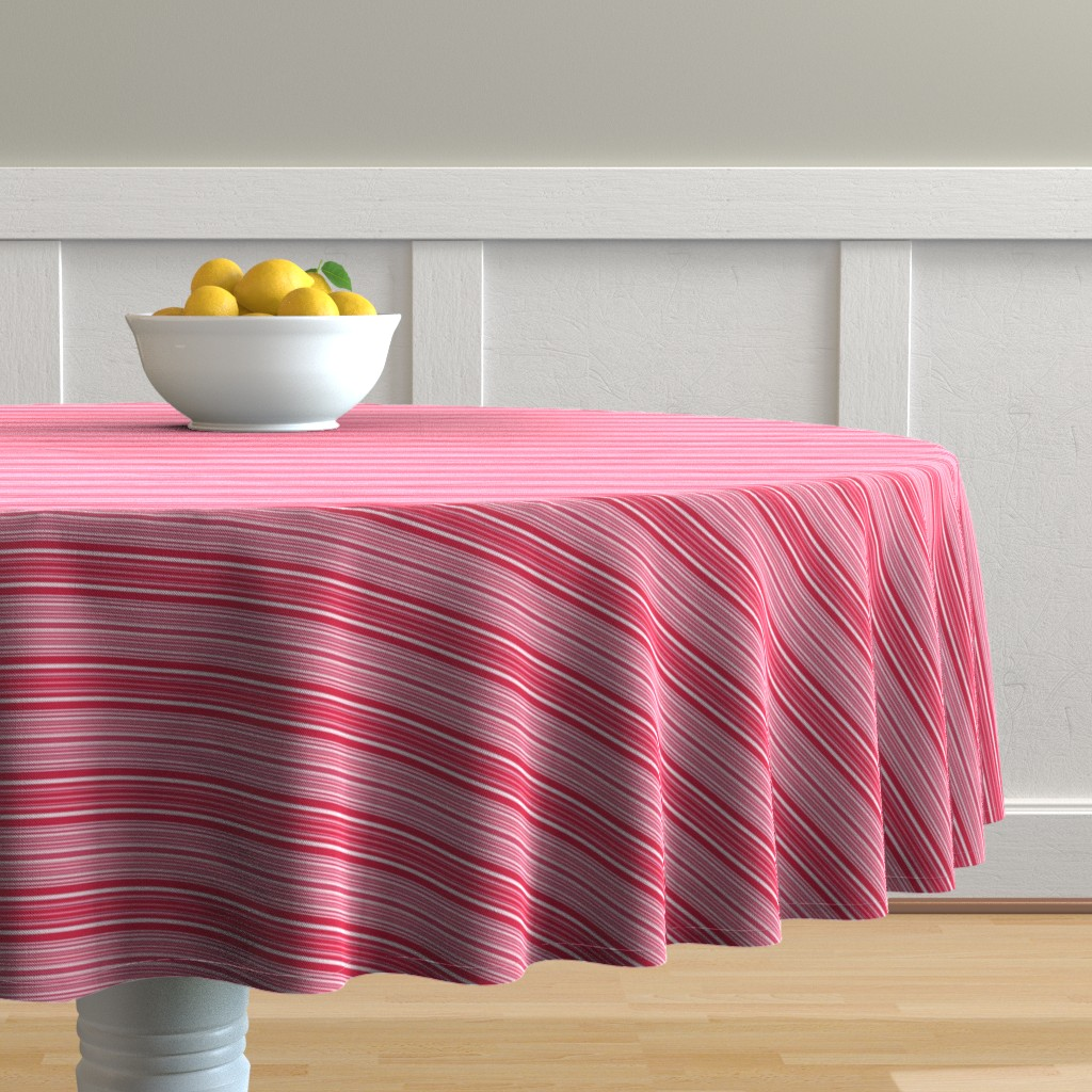 Malay Round Tablecloth featuring Red, Pink, and White Horizontal Stripes by gingezel