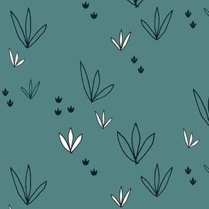 Plant foliage shrub weeds jungle dinosaur coordinating pattern
