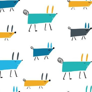 Marching dogs boys pattern blue grey yellow