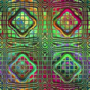 Large grid BOHEMIAN CARAVAN WINDOW  tiles red green