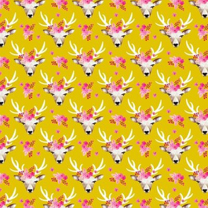 Sweet indian summer bohemian watercolor deer love  yellow mustard XXS