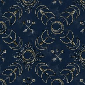 Bohemian Solar Eclipse Gold // solar eclipse bohemian tribal indigo arrows moon sun fabric