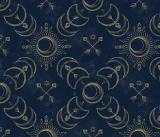 Bohemian Solar Eclipse Gold // solar eclipse bohemian tribal indigo arrows moon sun fabric