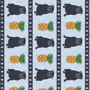 Primitive Pug and pineapple - slate blue large border length black