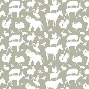 Zoo, Farm and Woodland Animals, Nursery Decor,  White on Gray