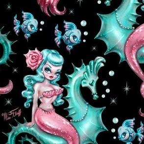 Mysterious Mermaid on Black- MEDIUM