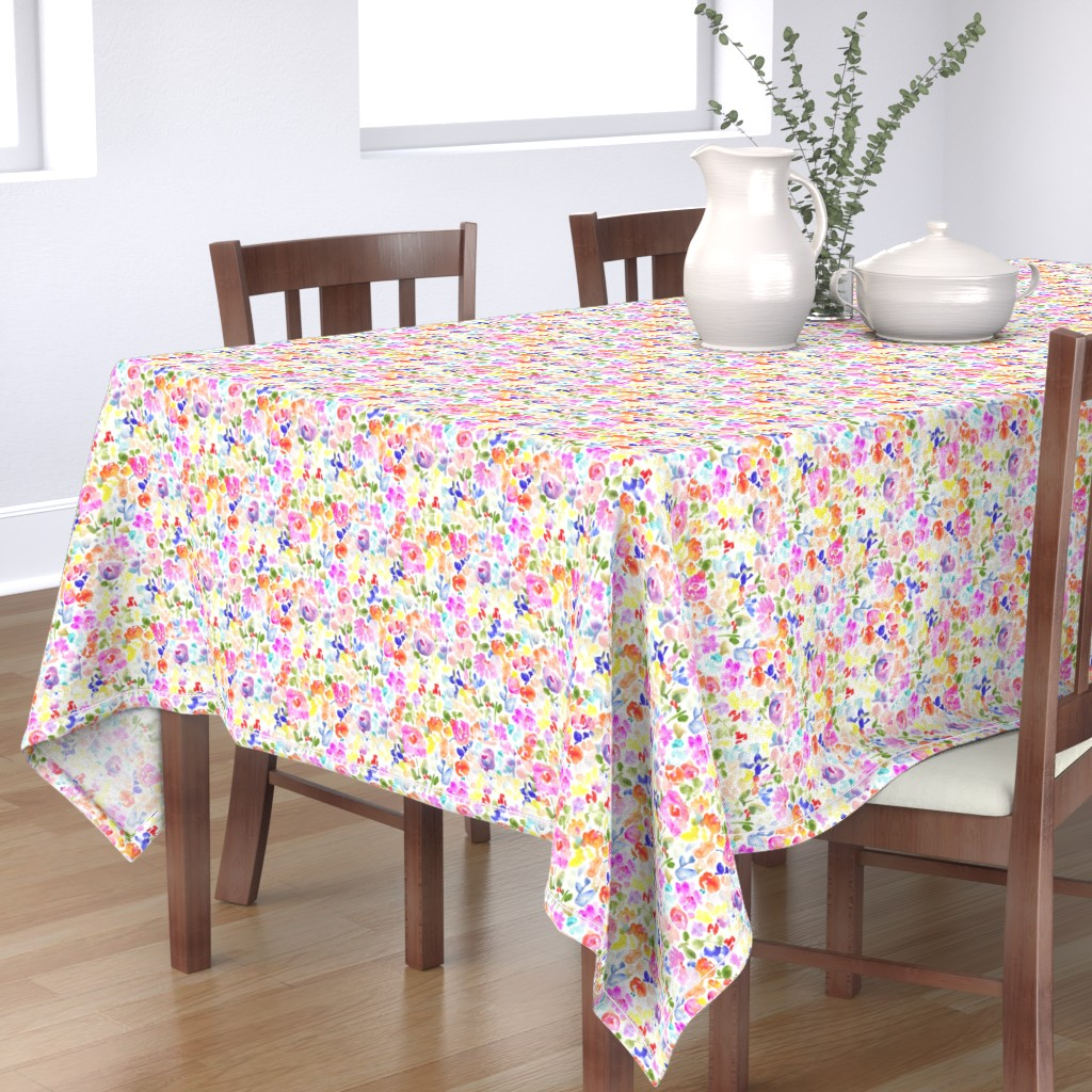 Bantam Rectangular Tablecloth featuring Abstract Watercolor Flower Field by angiemakes