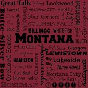 Montana cities, red