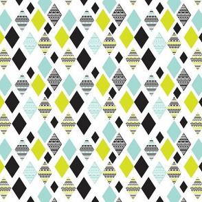 Aztec mint blue lime green yellow black and white geometric diamond fabric SMALL