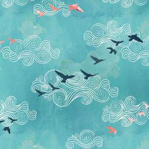 Blue sky birds