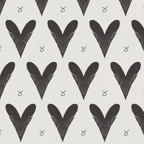 Hearts from Feathers Off White Upholstery Fabric