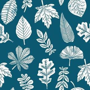 Leaves botanical nature walk autumn fall spring summer pattern blue