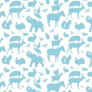 Farm, Zoo and Woodland Animal Menagerie in Light Blue on White