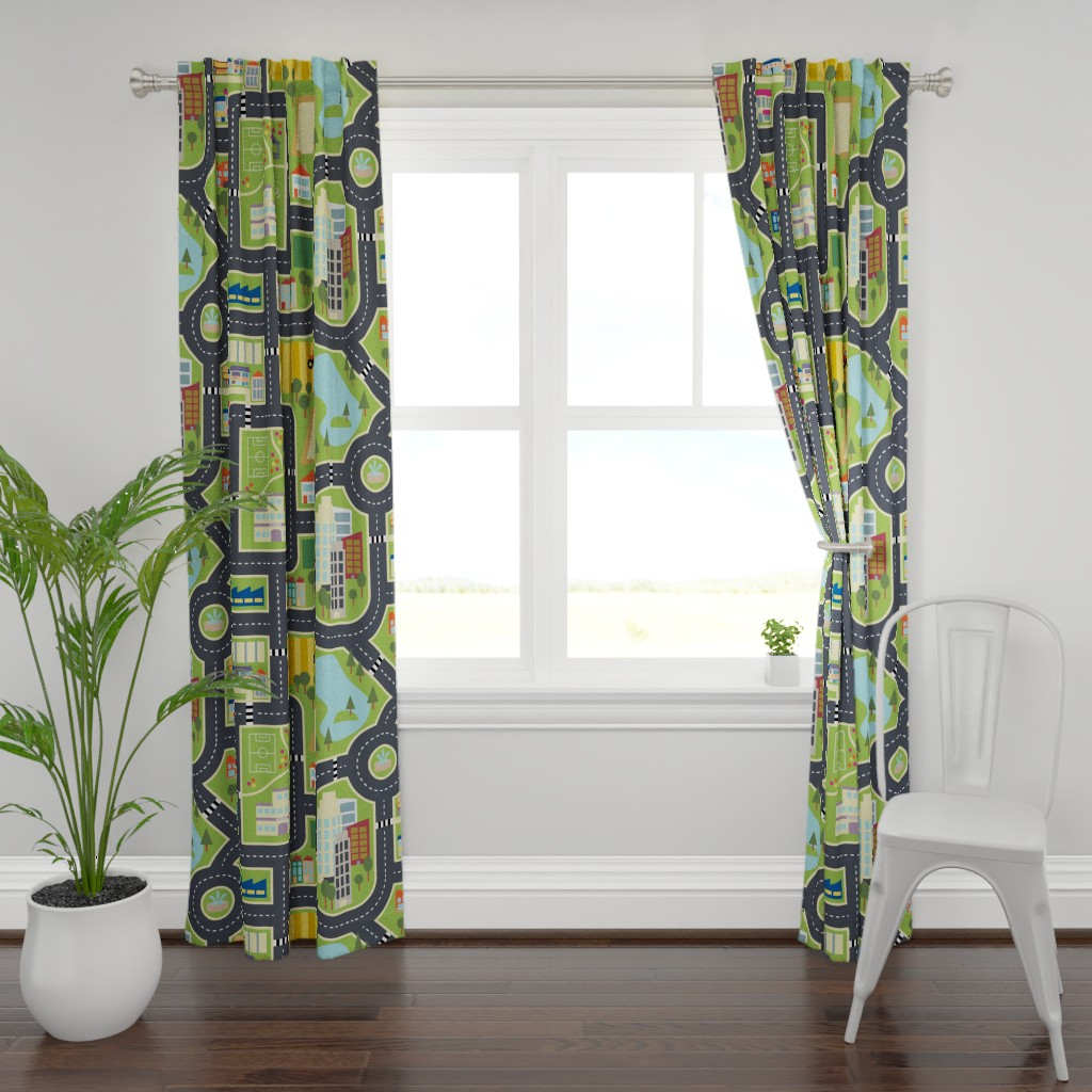 Plymouth Curtain Panel featuring Town & Country Play Mat by seesawboomerang