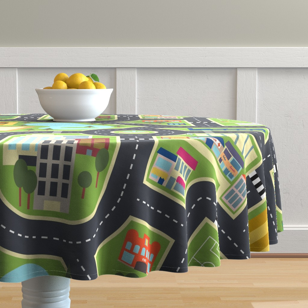 Malay Round Tablecloth featuring Town & Country Play Mat by seesawboomerang