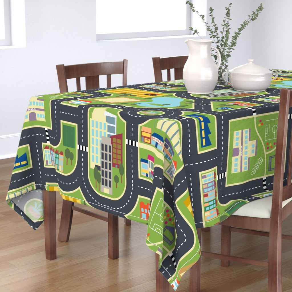 Bantam Rectangular Tablecloth featuring Town & Country Play Mat by seesawboomerang