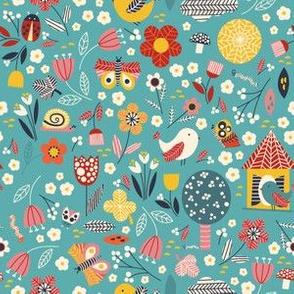 Birds and bugs - turquiose