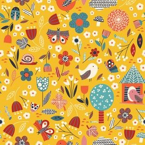 Birds and bugs - yellow
