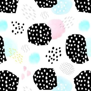 Memphis Style Abstract with Black Dots