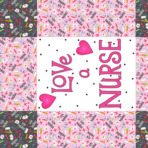 Love A Nurse Wholecloth Quilt Top Pink