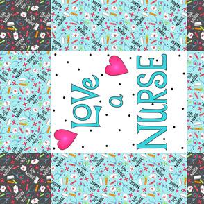 Love a Nurse Wholecloth Quilt Top Turquoise