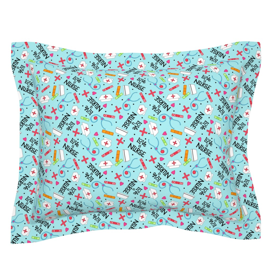 Sebright Pillow Sham featuring Love a Nurse Whimsy Blue by phyllisdobbs